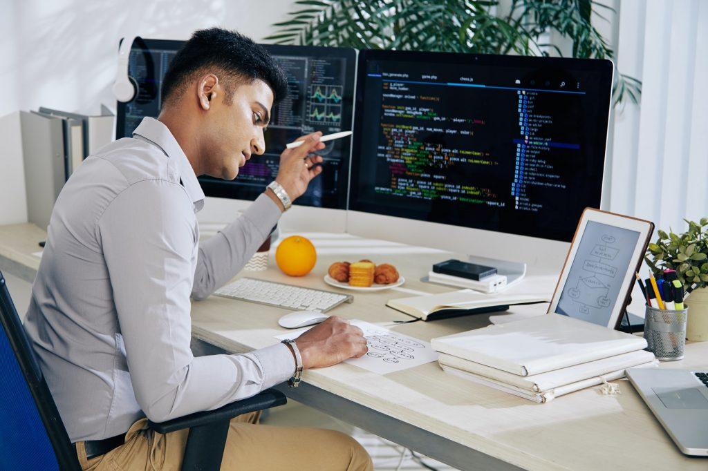 Developer checking structure chart